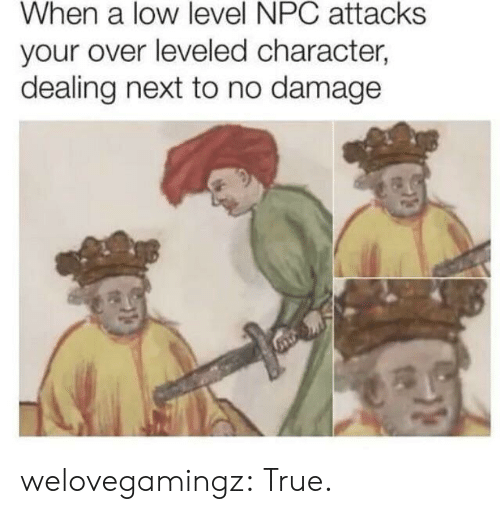 True, Tumblr, and Blog: When a low level NPC attacks  your over leveled character,  dealing next to no damage welovegamingz:  True.
