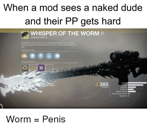 Dude, Naked, and Penis: When a mod sees a naked dude  and their PP gets hard  WHISPER OF THE WORM  SNIPER RIFLE  A Guardian's power makes a rich feeding ground. Do not be revolted.  There are parasites that may benefit the host..teeth sharper than your  own  WEAPON PERKS  WEAPON MODS  斑  Impact  Stability  Reload Speed  0  385  ATTACK  Rounds Per Minute 72  Magazine 3