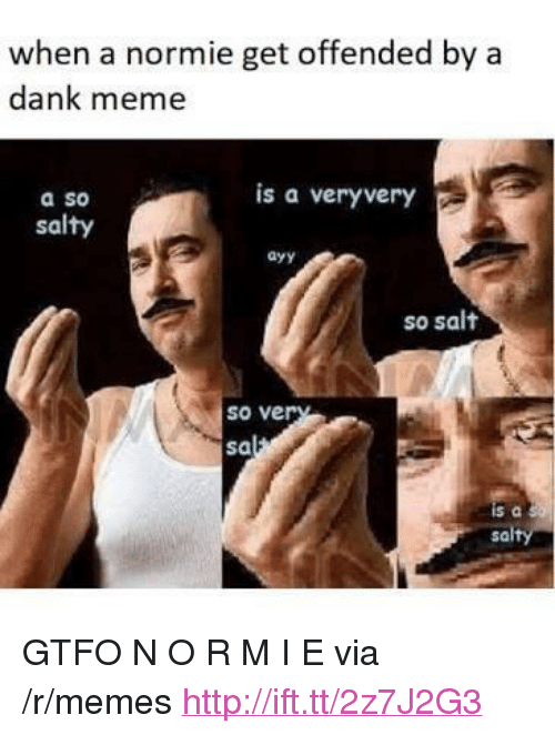 "Dank, Meme, and Memes: when a normie get offended by a  dank meme  is a veryvery  a so  salty  ayy  so salt  so ve  sa  sa <p>GTFO N O R M I E via /r/memes <a href=""http://ift.tt/2z7J2G3"">http://ift.tt/2z7J2G3</a></p>"