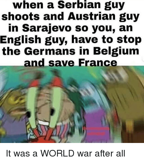 Austrian: when  a  Serbian  guy  shoots and Austrian guy  in Sarajevo so you, an  English guy, have to stop  the Germans in Belgium  and save France It was a WORLD war after all