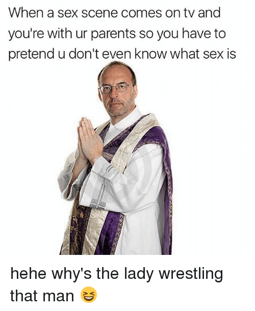 sexs: When a sex scene comes on tv and  you're with ur parents so you have to  pretend u don't even know what sex is hehe why's the lady wrestling that man 😆