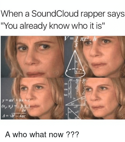 "SoundCloud, Tanning, and Dank Memes: When a SoundCloud rapper says  ""You already know who it is""  2  cos s  tan  2s  y=ax) +b  2a A who what now ???"
