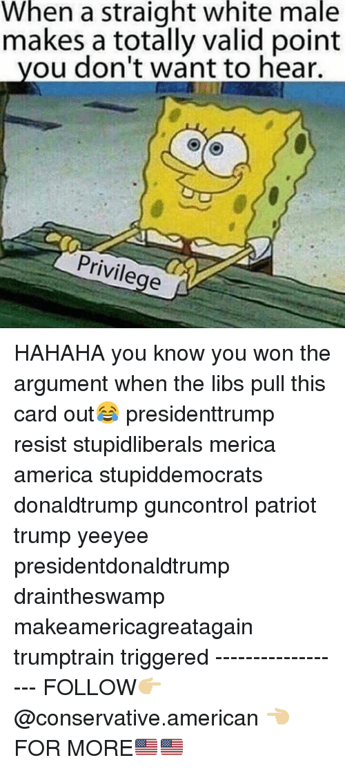 Valid Point: When a straight white male  makes a totally valid point  you don't want to hear.  Privilege HAHAHA you know you won the argument when the libs pull this card out😂 presidenttrump resist stupidliberals merica america stupiddemocrats donaldtrump guncontrol patriot trump yeeyee presidentdonaldtrump draintheswamp makeamericagreatagain trumptrain triggered ------------------ FOLLOW👉🏼 @conservative.american 👈🏼 FOR MORE🇺🇸🇺🇸