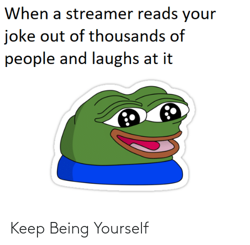 Thousands: When a streamer reads your  joke out of thousands of  people and laughs at it Keep Being Yourself