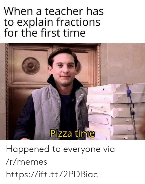 Memes, Pizza, and Teacher: When a teacher has  to explain fractions  for the first time  Pizza time Happened to everyone via /r/memes https://ift.tt/2PDBiac