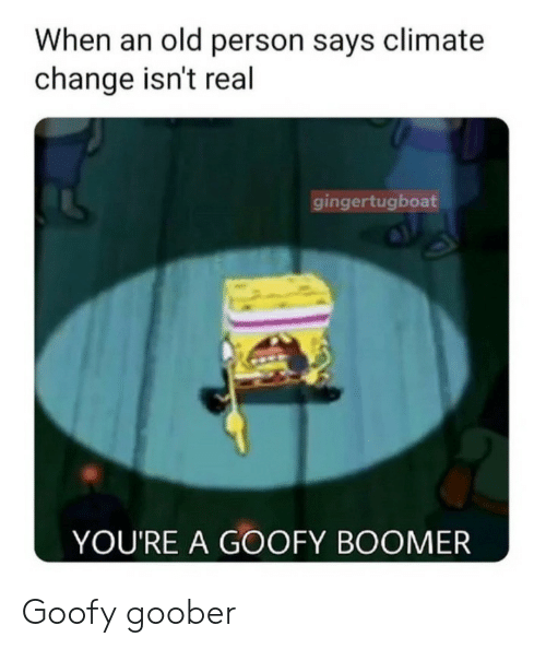Old, Change, and Climate Change: When an old person says climate  change isn't real  gingertugboat  YOU'RE A GOOFY BOOMER Goofy goober