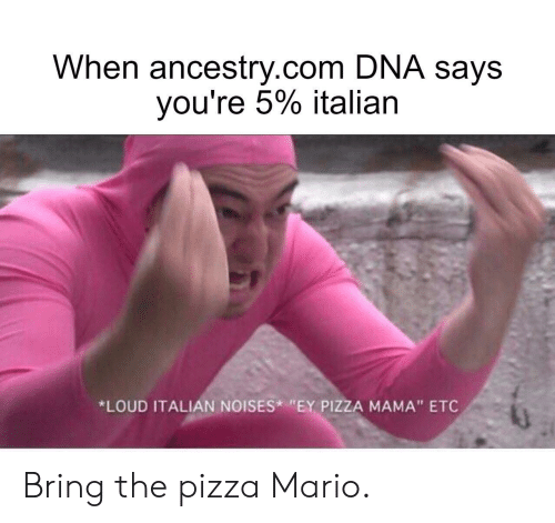 "italian: When ancestry.com DNA says  you're 5% italian  *LOUD ITALIAN NOISES ""EY PIZZA MAMA"" ETC Bring the pizza Mario."
