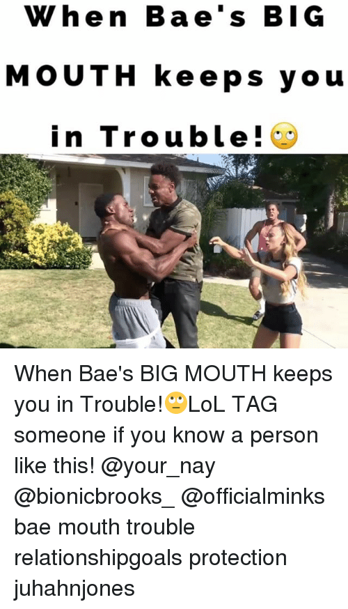 mouthing: When Bae's BIG  MOUTH keeps you  in Trouble! When Bae's BIG MOUTH keeps you in Trouble!🙄LoL TAG someone if you know a person like this! @your_nay @bionicbrooks_ @officialminks bae mouth trouble relationshipgoals protection juhahnjones