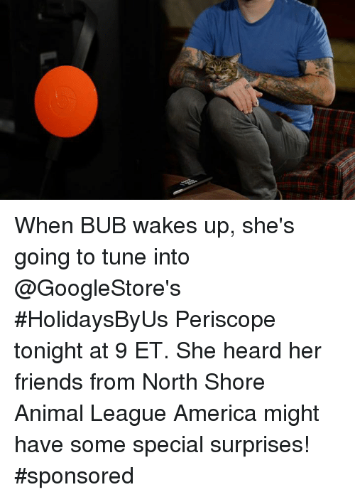 Tuned Into: When BUB wakes up, she's going to tune into @GoogleStore's #HolidaysByUs Periscope tonight at 9 ET. She heard her friends from North Shore Animal League America might have some special surprises! #sponsored