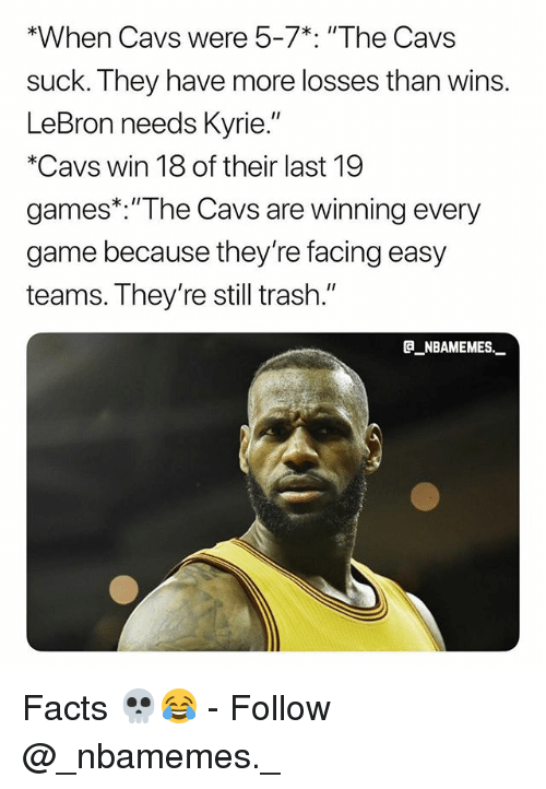 """Cavs, Facts, and Memes: *When Cavs were 5-7% """"The Cavs  suck. They have more losses than wins.  LeBron needs Kyrie.  *Cavs win 18 of their last 19  games*. """"The Cavs are winning every  game because they're facing easy  teams. T hey re still trash.  @_ABAMEMEs.一 Facts 💀😂 - Follow @_nbamemes._"""