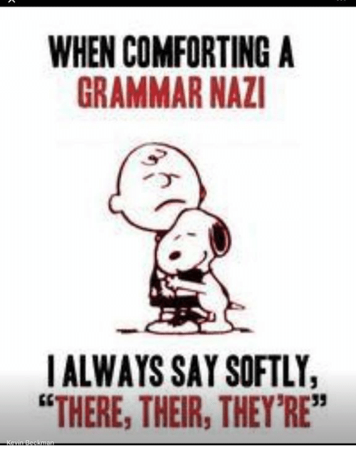"""grammar nazi: WHEN COMFORTING A  GRAMMAR NAZI  I ALWAYS SAY SOFTLY,  """"THERE, THEIR, THEY'RE"""""""