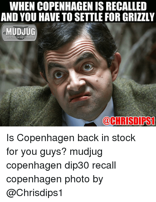 Memes, 🤖, and Copenhagen: WHEN COPENHAGEN ISRECALLED  AND YOU HAVE TO SETTLE FOR GRIZZLY  MUDJUG  portable spittoons  @CHRISDIRST Is Copenhagen back in stock for you guys? mudjug copenhagen dip30 recall copenhagen photo by @Chrisdips1