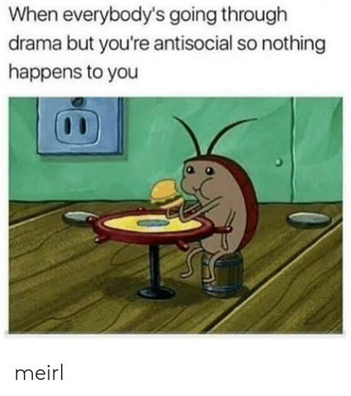 Antisocial, MeIRL, and Drama: When everybody's going through  drama but you're antisocial so nothing  happens to you meirl