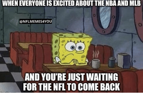 Mlb, Nba, and Nfl: WHEN EVERYONE IS EXCITED ABOUT THE NBA AND MLB  @NFLMEMES4YOU  6-  AND YOU'RE JUST WAITING  FOR THE NFL TO COME BACK
