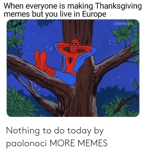 Dank, Memes, and Target: When everyone is making Thanksgiving  memes but you live in Europe  u/paolonoci  놓 Nothing to do today by paolonoci MORE MEMES