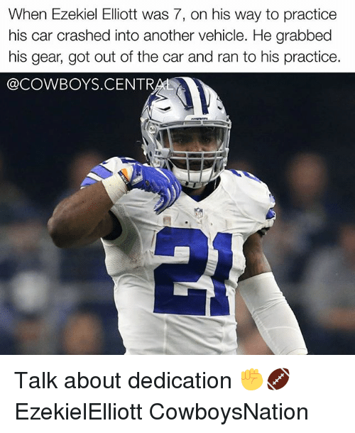 Cowboysnation: When Ezekiel Elliott was 7, on his way to practice  his car crashed into another vehicle. He grabbed  his gear, got out of the car and ran to his practice.  @COWBOYS.CENTR  1  50 Talk about dedication ✊🏈 EzekielElliott CowboysNation