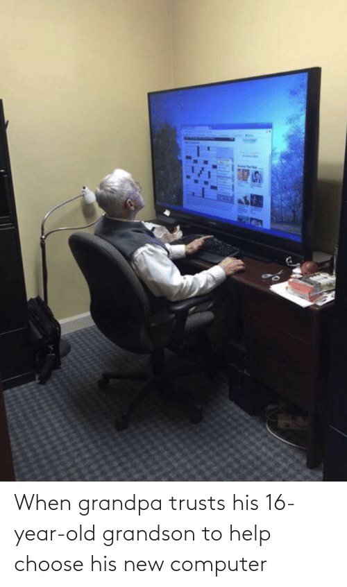 choose: When grandpa trusts his 16-year-old grandson to help choose his new computer