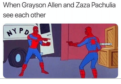 Nba, Grayson Allen, and Each Other: When Grayson Allen and Zaza Pachulia  see each other  @NBAMEMES