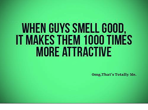 smells good: WHEN GUYS SMELL GOOD,  IT MAKES THEM 1000 TIMES  MORE ATTRACTIVE  omg, That's Totally Me.
