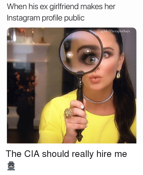 Instagram, Girl Memes, and Cia: When his ex girfriend makes her  Instagram profile public  @My TherapistSays The CIA should really hire me 🕵🏻♀️