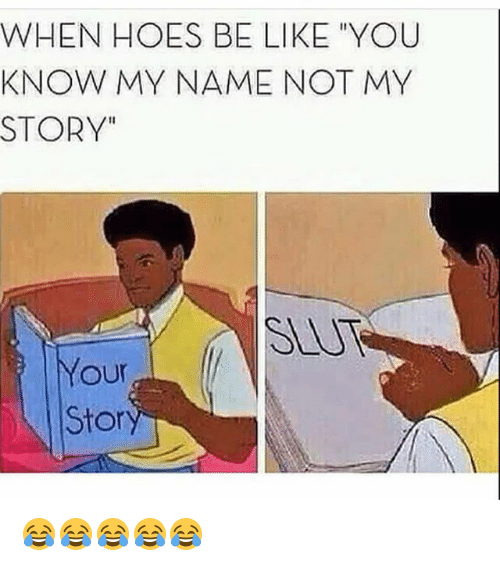 """Hoes Be Like: WHEN HOES BE LIKE """"YOU  KNOW MY NAME NOT MY  STORY""""  SLUT  Your  Sto 😂😂😂😂😂"""