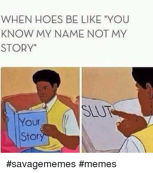 """Hoes Be Like: WHEN HOES BE LIKE """"YOU  KNOW MY NAME NOT MY  STORY""""  SEU  our  Stor <p>#savagememes #memes</p>"""