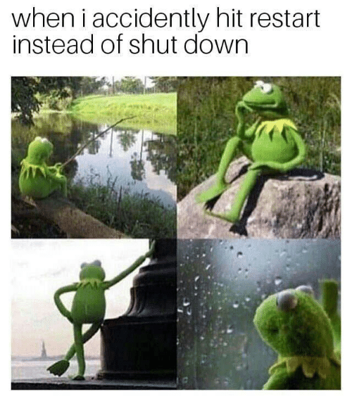 Down, Hit, and Shut Down: when i accidently hit restart  instead of shut down