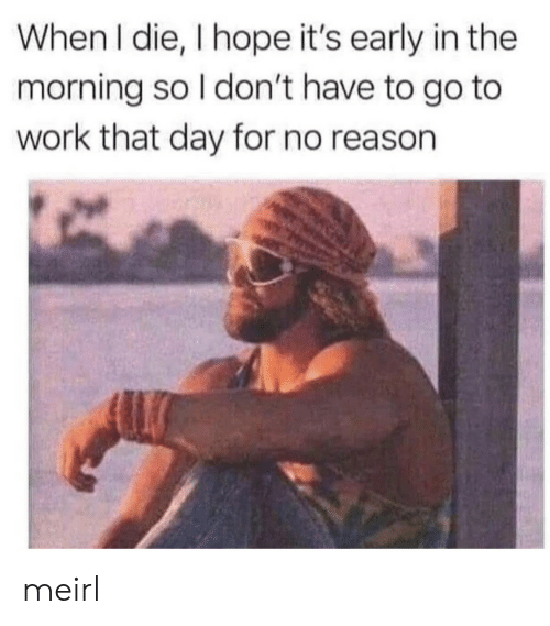 Work, Hope, and Reason: When I die, I hope it's early in the  morning so I don't have to go to  work that day for no reason meirl