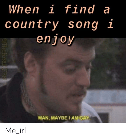 Thereal: When i find a  country song i  enjoy  I AM GAY.  MAN, MAYBE  @TheReal PB Me_irl