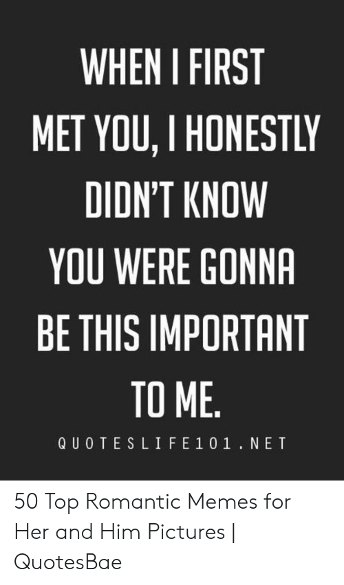Romantic Memes: WHEN I FIRST  MET YOU, I HONESTLY  DIDN'T KNOW  YOU WERE GONNA  BE THIS IMPORTANT  TO ME  QUOTESLIFE 1 01.NET 50 Top Romantic Memes for Her and Him Pictures | QuotesBae
