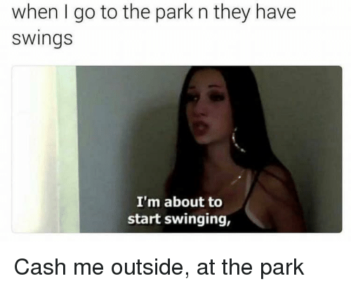 swinging: when I go to the park n they have  swings  I'm about to  start swinging, Cash me outside, at the park