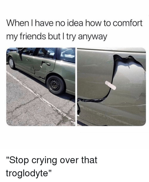 """Crying, Friends, and How To: When I have no idea how to comfort  my friends but I try anyway """"Stop crying over that troglodyte"""""""