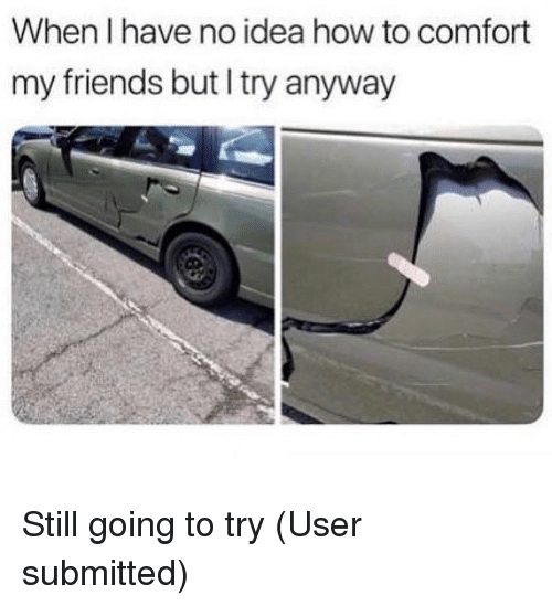 Friends, Memes, and How To: When I have no idea how to comfort  my friends but I try anyway Still going to try (User submitted)