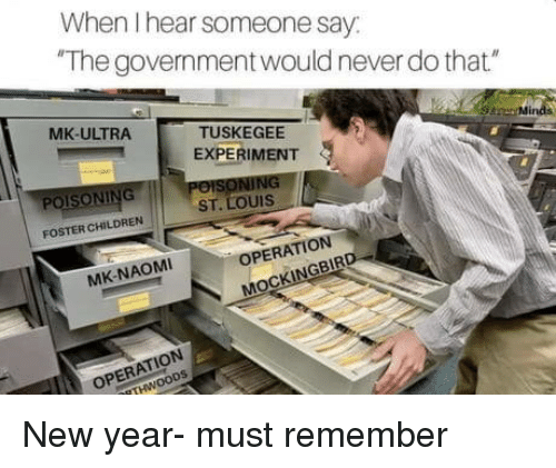 """St Louis: When I hear someone say  The government would never do that""""  MK-ULTRA  TUSKEGEE  EXPERIMENT  Mir  POISONING  ST. LOUIS  FOSTER CHILDREN  OPERATION  MK-NAOMI  NGBIR  ATION New year- must remember"""