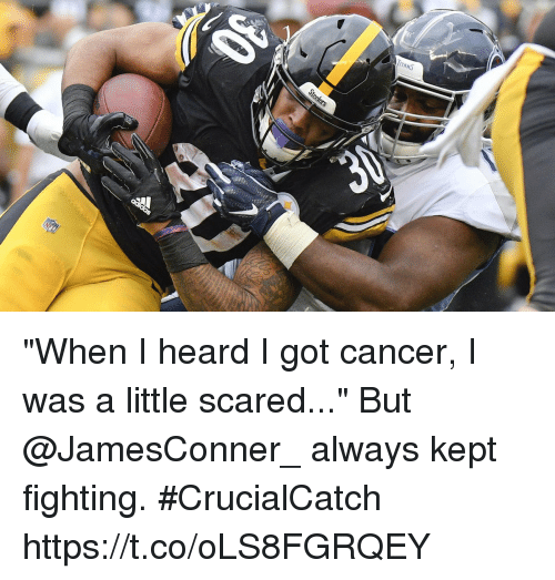 "Memes, Cancer, and 🤖: ""When I heard I got cancer, I was a little scared...""  But @JamesConner_ always kept fighting. #CrucialCatch https://t.co/oLS8FGRQEY"