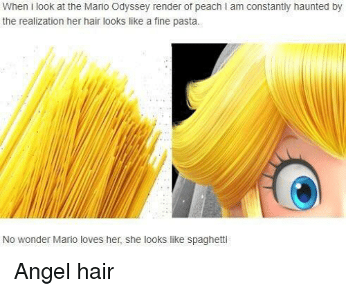 the mario: When i look at the Mario Odyssey render of peach I am constantly haunted by  the realization her hair looks like a fine pasta.  No wonder Mario loves her, she looks like spaghetti Angel hair