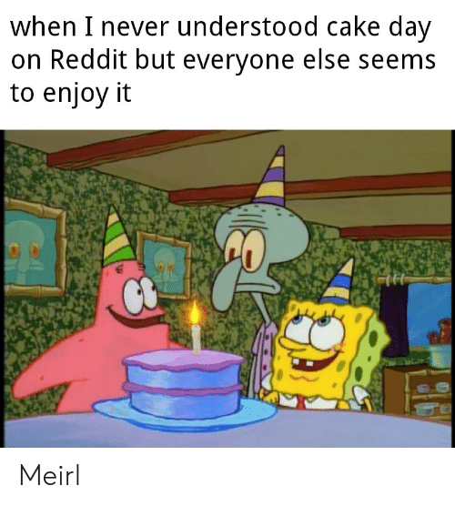 Reddit, Cake, and Never: when I never understood cake day  on Reddit but everyone else seems  to enjoy it  CO Meirl