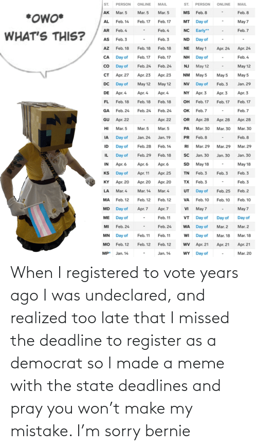 democrat: When I registered to vote years ago I was undeclared, and realized too late that I missed the deadline to register as a democrat so I made a meme with the state deadlines and pray you won't make my mistake. I'm sorry bernie