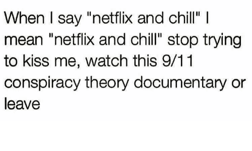 """9/11, Chill, and Netflix: When I say """"netflix and chill"""" I  mean """"netflix and chill"""" stop trying  to kiss me, watch this 9/11  conspiracy theory documentary or  leave"""