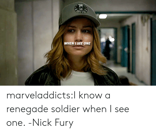 nick fury: WHEN I SEE ONE marveladdicts:I know a renegade soldier when I see one. -Nick Fury