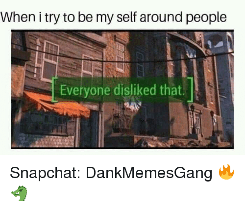 Memes, Snapchat, and 🤖: When i try to be my self around people  Everyone disliked that. Snapchat: DankMemesGang 🔥🐲