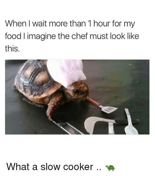 I Waiting: When I wait more than 1 hour for my  food l imagine the chef must look like  this  rautP  otato What a slow cooker .. 🐢