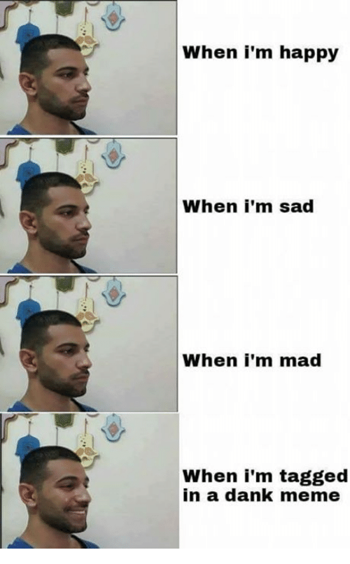 Dank, Meme, and Memes: When i'm happy  When i'm sad  When i'm mad  When i'm tagged  in a dank meme