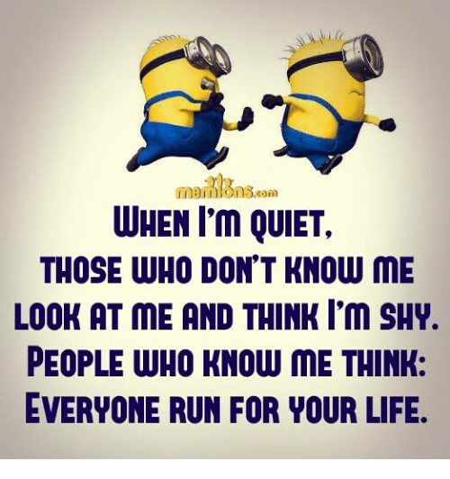 run for your life: WHEN I'm QUIET,  THOSE WHO DON'T KNOW ME  LOOK AT ME AND THINK I'm SHY.  PEOPLE WHO KNOW ME THINK:  EVERYONE RUN FOR YOUR LIFE