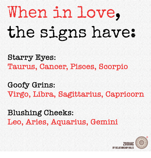 When in Love the Signs Have Starry Eyes T'aurus Cancer