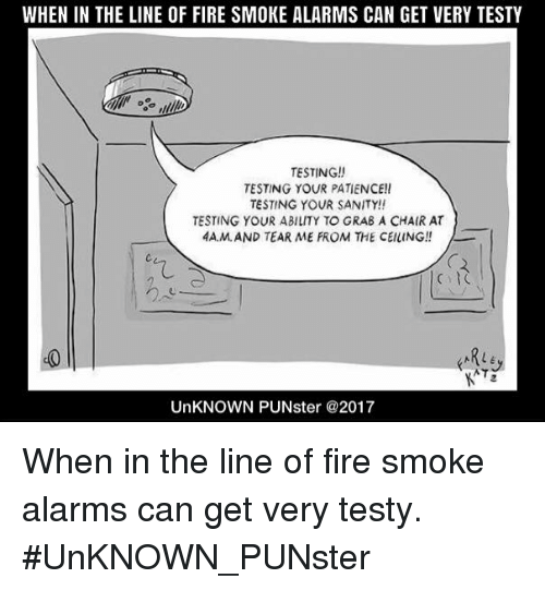 When In The Line Of Fire Smoke Alarms Can Get Very Testy Testing Testing Your Patience Testing Your Sanity Testing Your Ability To Grab A Chair At 4amand Tear Me From The