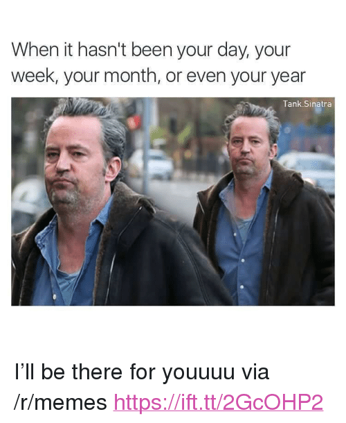 """Memes, Been, and Tank: When it hasn't been your day, your  week, your month, or even your year  Tank Sinatra <p>I&rsquo;ll be there for youuuu via /r/memes <a href=""""https://ift.tt/2GcOHP2"""">https://ift.tt/2GcOHP2</a></p>"""