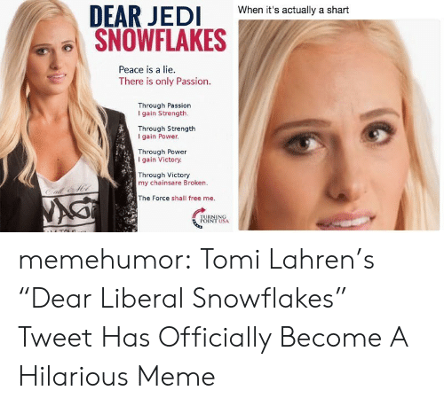 """hilarious meme: When it's actually a shart  SNOWFLAKES  Peace is a lie.  There is only Passion.  Through Passion  I gain Strength.  Through Strength  I gain Power  Through Power  gain Victory.  Through Victory  my chainsare Broken.  The Force shall free me. memehumor:  Tomi Lahren's """"Dear Liberal Snowflakes"""" Tweet Has Officially Become A Hilarious Meme"""