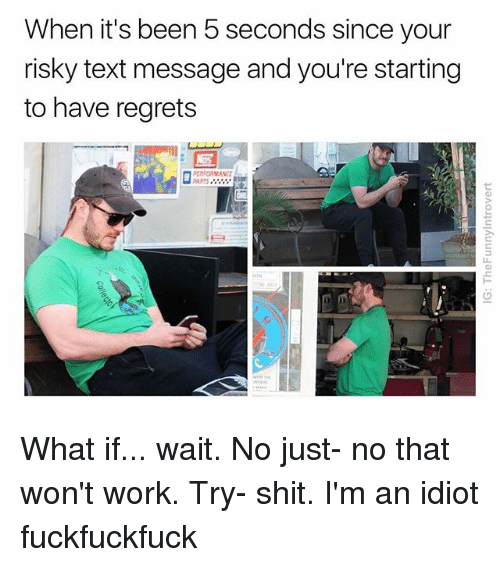 im an idiot: When it's been 5 seconds since your  risky text message and you're starting  to have regrets  PERFORMANCE  ARTS What if... wait. No just- no that won't work. Try- shit. I'm an idiot fuckfuckfuck