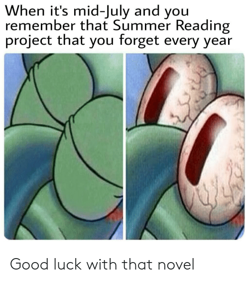 Good Luck With That: When it's mid-July and you  remember that Summer Reading  project that you forget every year Good luck with that novel